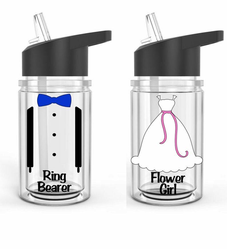 Personalized flower girl or ring bearer water bottle gift