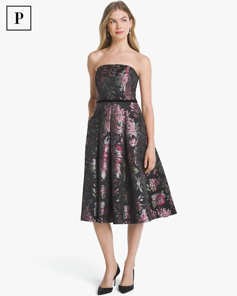319d6b38e05 Petite Strapless Floral Jacquard Fit-and-Flare Dress | #likeaBOSS ...