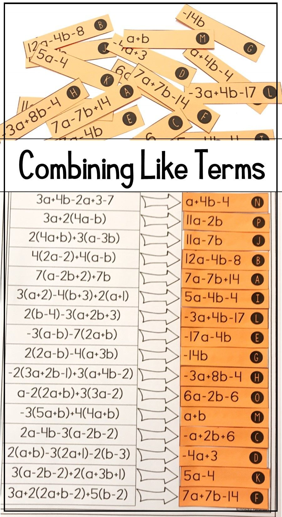 Combining Like Terms And Simplifying Expressions Matching Activity Worksheet Combining Like Terms Like Terms Simplifying Expressions