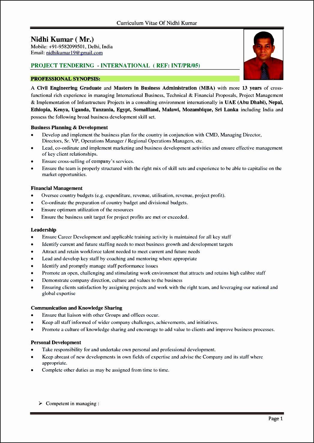 Format for Curriculum Vitae Inspirational Curriculum Vitae