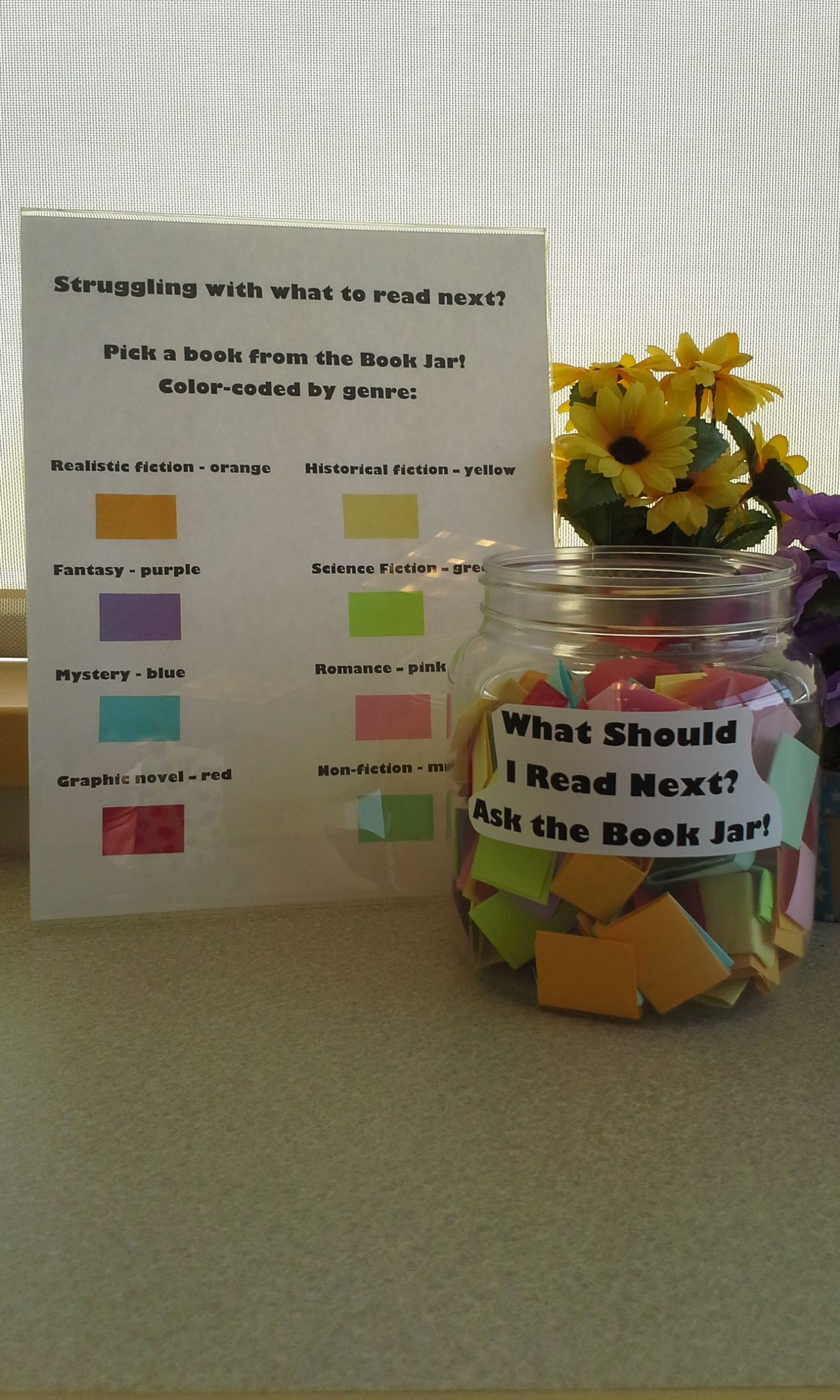 What Should I Read Next Jar For Ya Books Color Coded By Genre School Library Displays Library Displays Library Book Displays