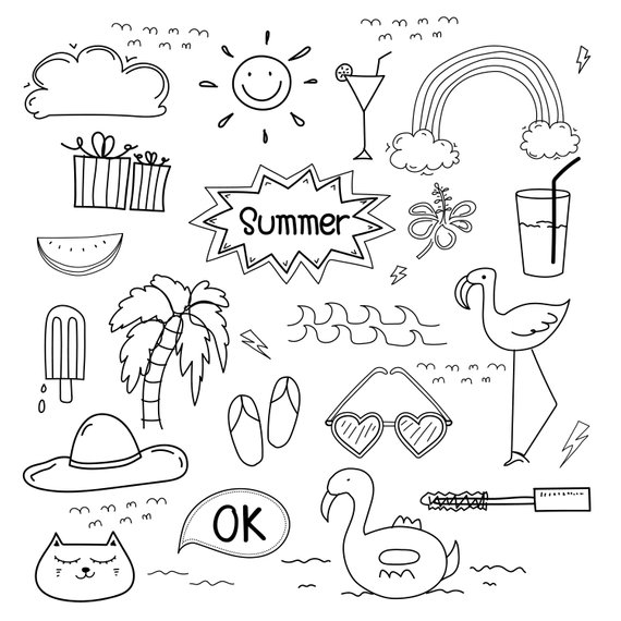 Hand Drawn Doodle Summer Vector Set Summer Clipart Doodle Art Clipart Vector Files Digital Download Clipart How To Draw Hands Summer Drawings Doodle Art