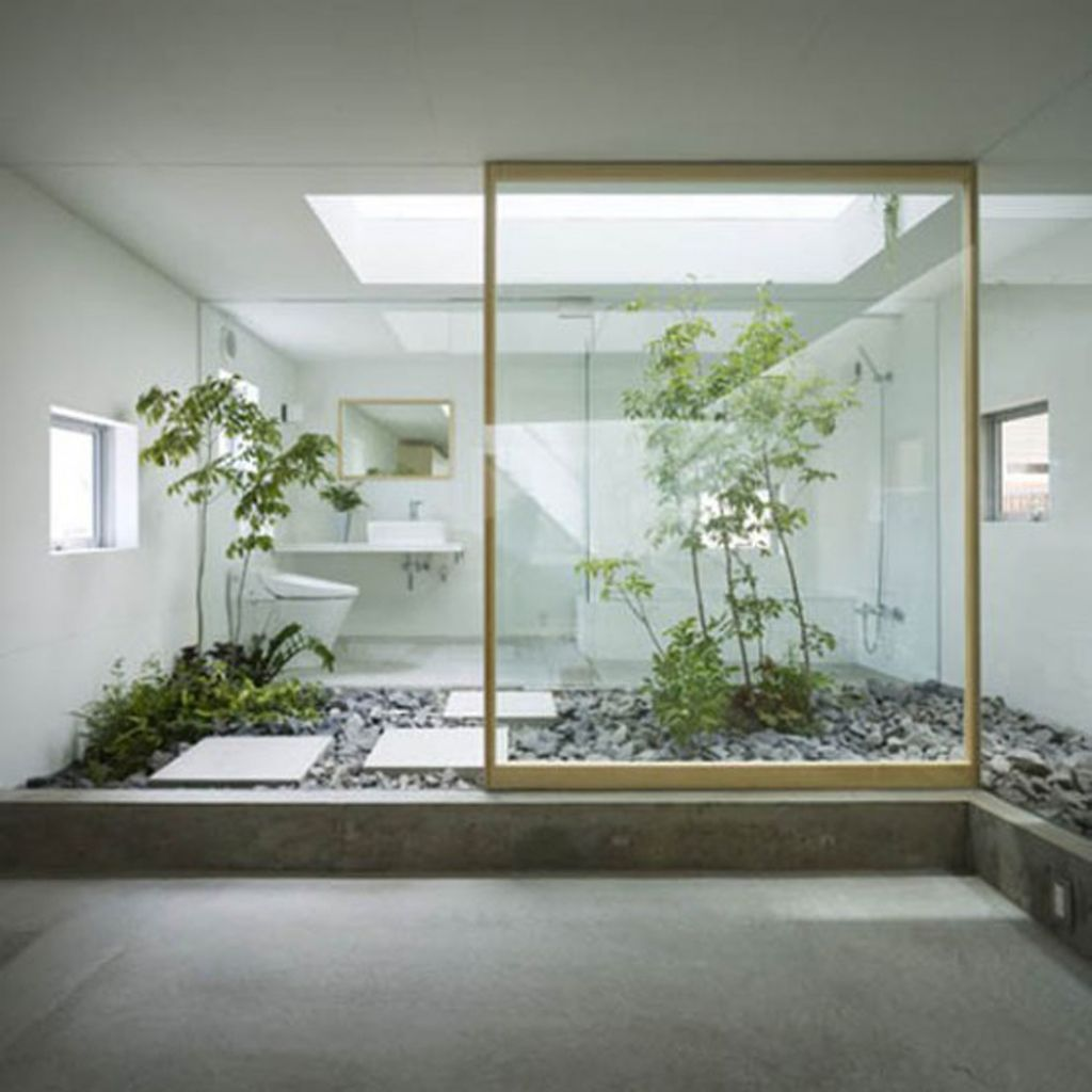 30 green ideas for modern bathroom decorating with plants for Small modern house garden design