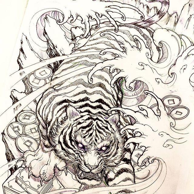 Tiger Sketch Tiger Sketch Illustration Drawing Irezumi Tattoo Asiantattoo Asianink Chronicin Japanese Tiger Tattoo Tiger Tattoo Sleeve Japanese Tattoo