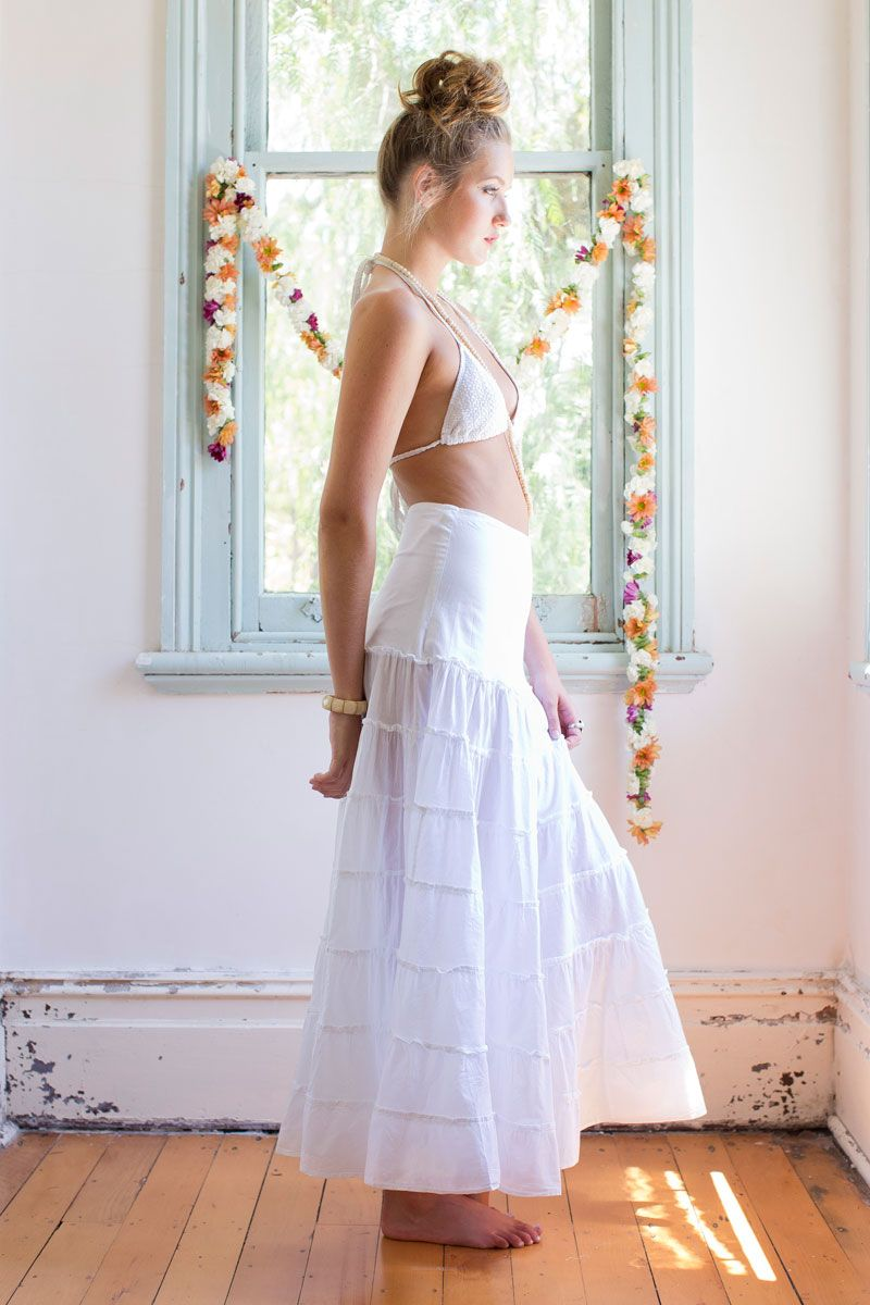 Tiered skirt cotton tiered skirt with wide flat waist panel