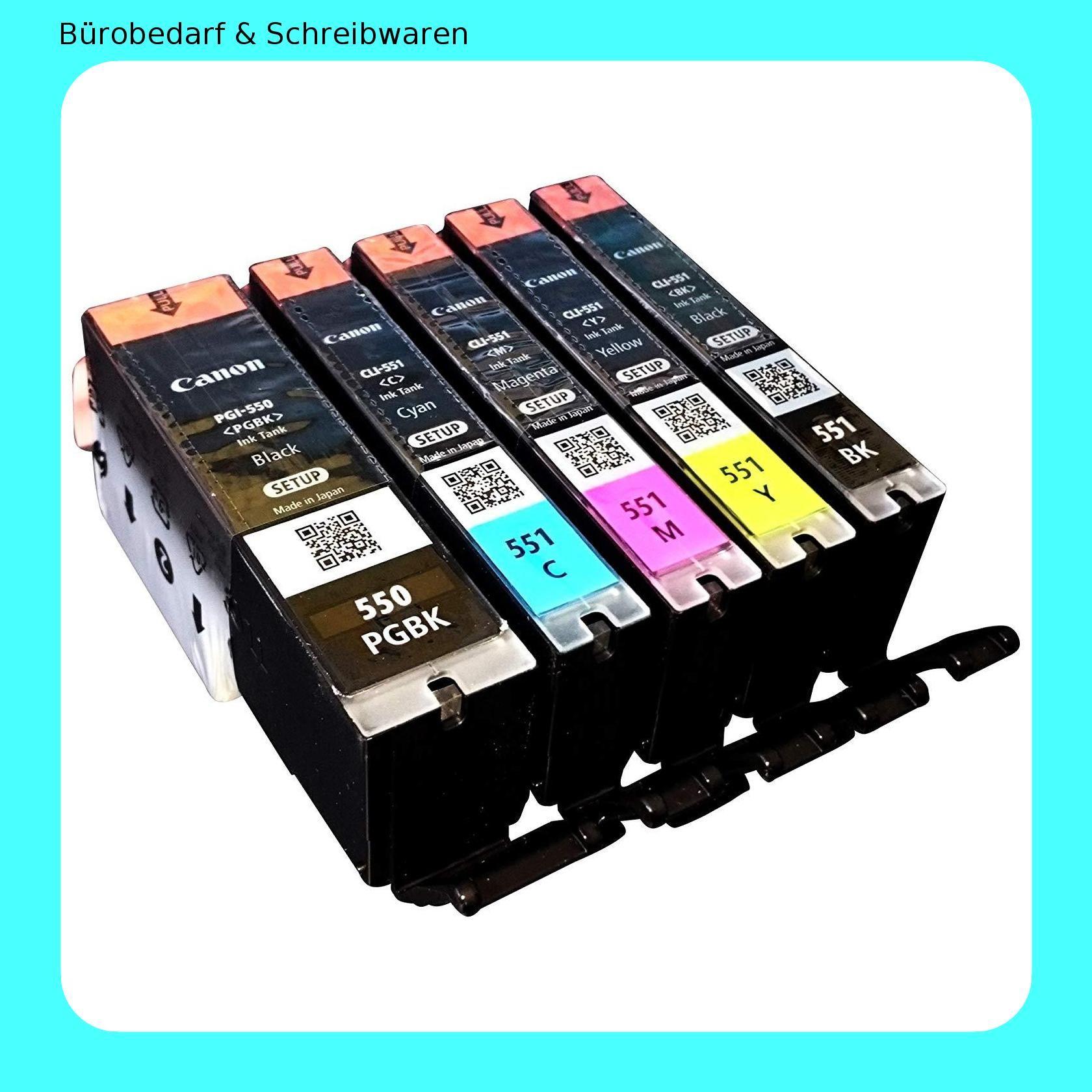 5x Original Setp Up Tintenpatrone Fur Canon Pixma Ip 7250 Mg 5450 Mg 6350 Mx 725 Mx 925 Pgi550 Pgi 550 Cli551 Cli 551 Bk Verpackung Patronen Und Tinte