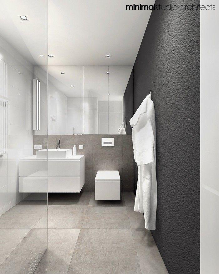 Minimalistisches Badezimmer Bodenfliesen in gleichem Farbton auch - dusche strukturwand