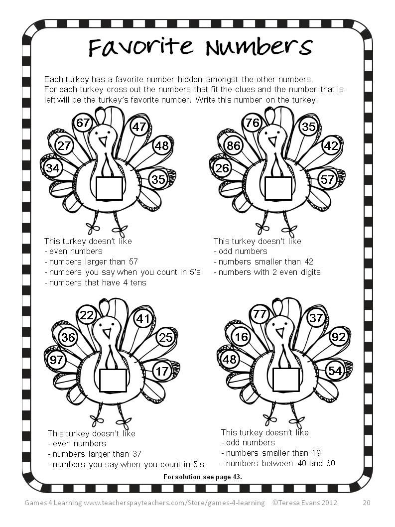 hight resolution of Thanksgiving Math Games Puzzles and Brain Teasers   Thanksgiving math