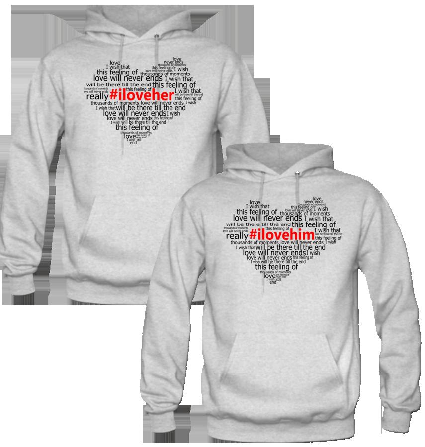 I LOVE HER I LOVE HIM DESIGNED Couple Hoodie | Couple hoodies ...