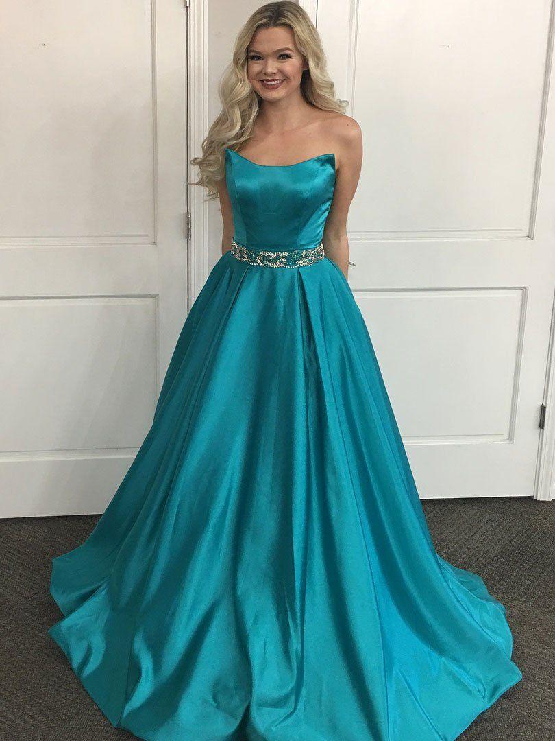 Aline strapless jade satin with beaded waistband long prom dresses