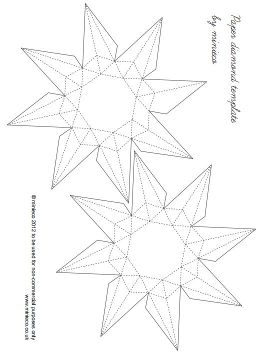 Schablone Zu Den 3d Diamanten Basteln Schablonen Origami