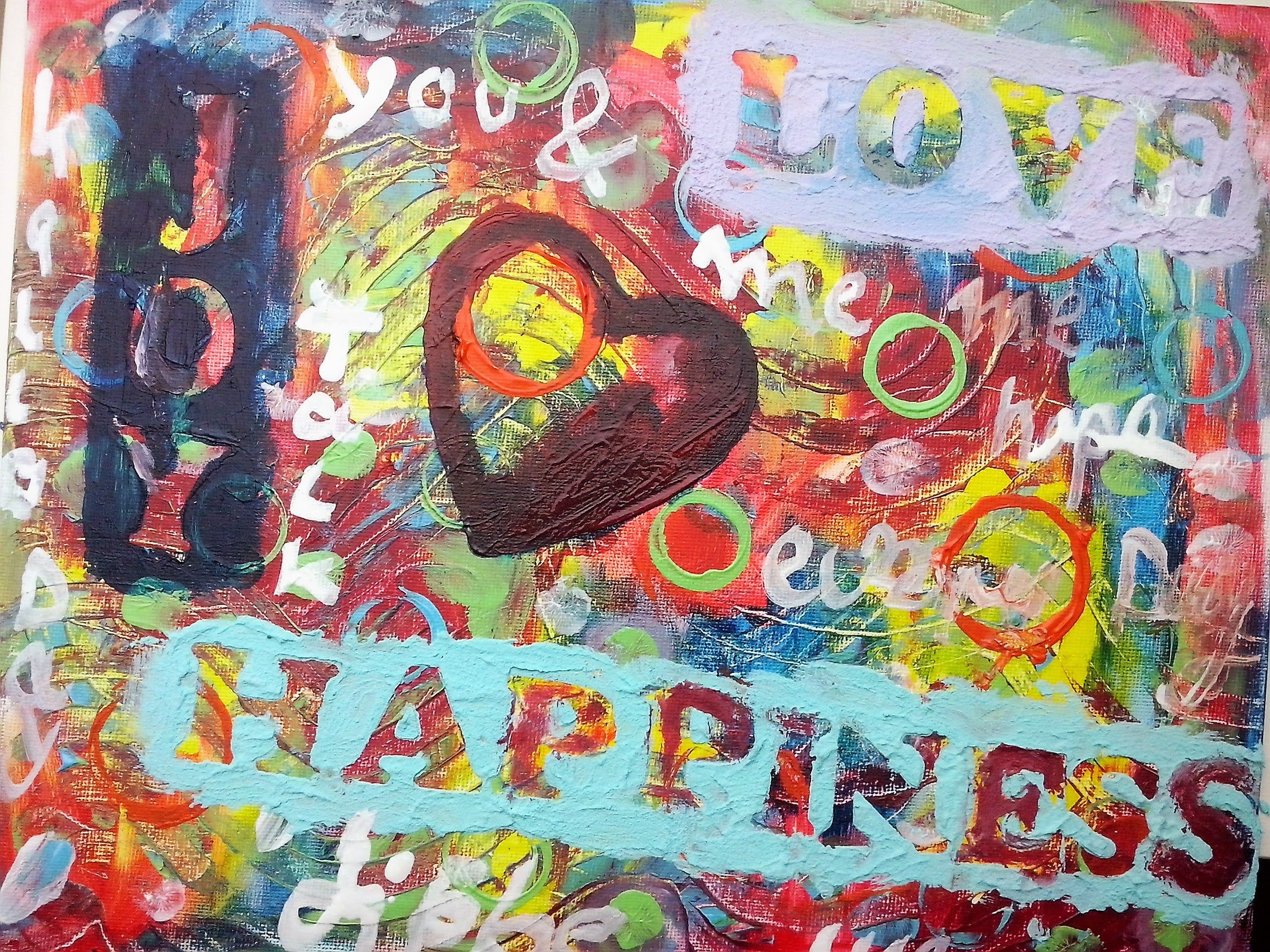 """Happiness""/Speedpainting Tutorial ( Mixed Media, Art Journal)"