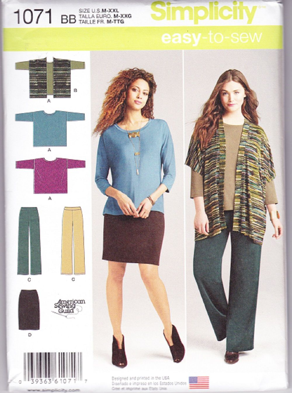 Simplicity Easy to Sew Sewing Pattern 1071, Misses Knit Skirt ...