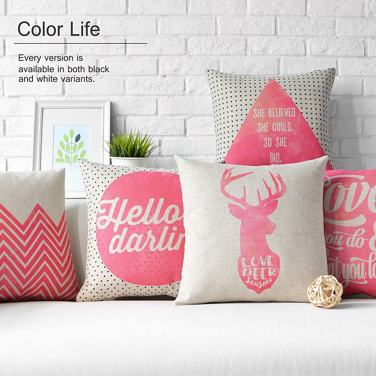 Nordic Pink Watercolor Deer Pillow Cushions Thick Linen Pillowcase Home Decorative Pillows Sofa Cushion