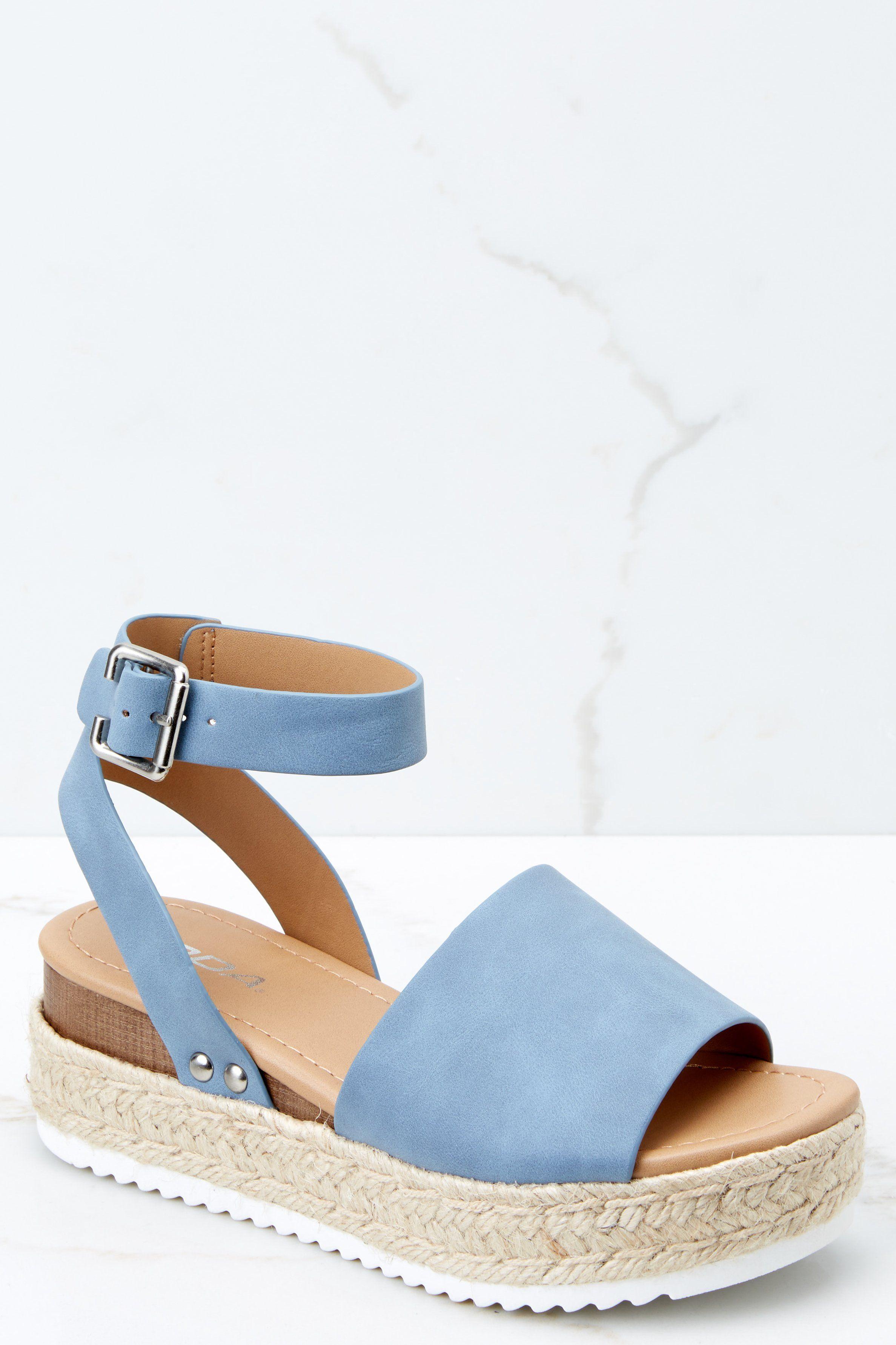 2c9f7641be7 Trendy Blue Flatform Sandals - Denim Platform Shoes - Sandals -  36 – Red  Dress Boutique