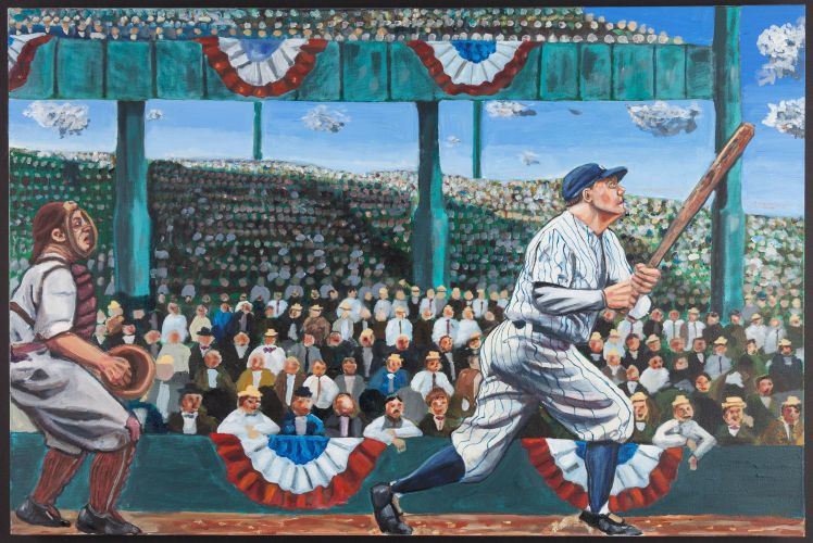 Babe Ruth Original Oil Painting Babe Dominated The Game Amassing Numbers That Had Never Been Seen Before He C Babe Ruth Batting Average Baseball Memorabilia