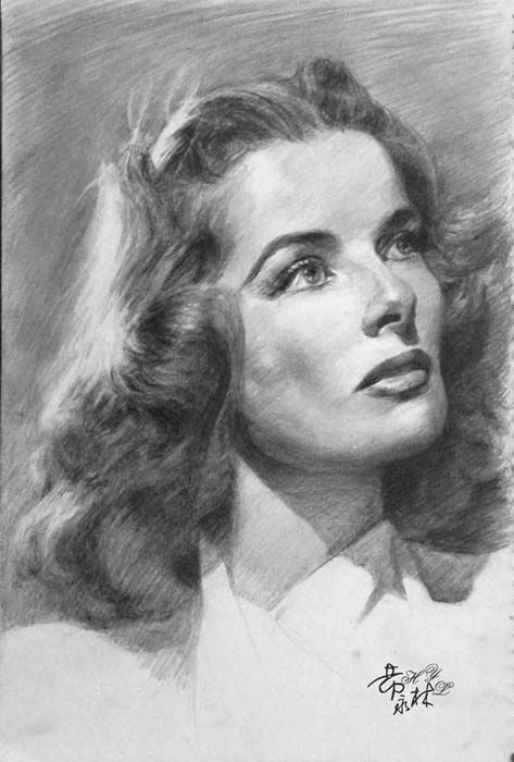 Katherine hepburn drawing cannot make out artist name