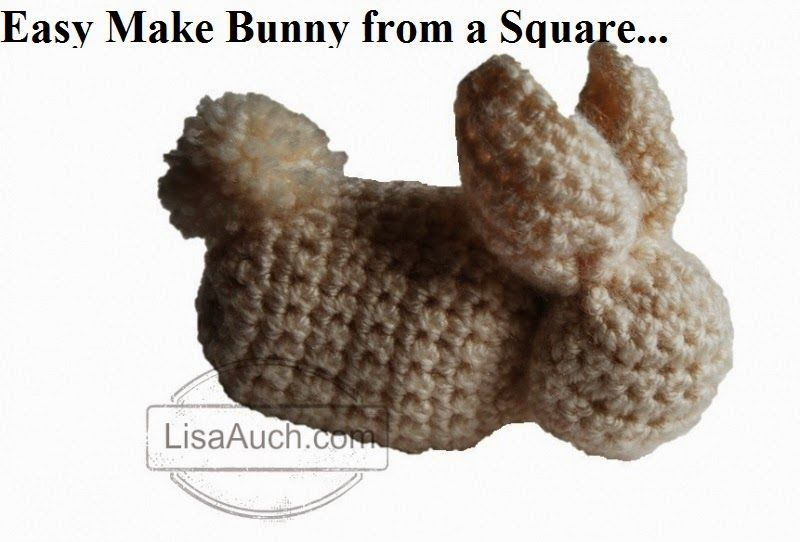 Easy Cute Bunny Made from a Square (Free Crochet Bunny Pattern)