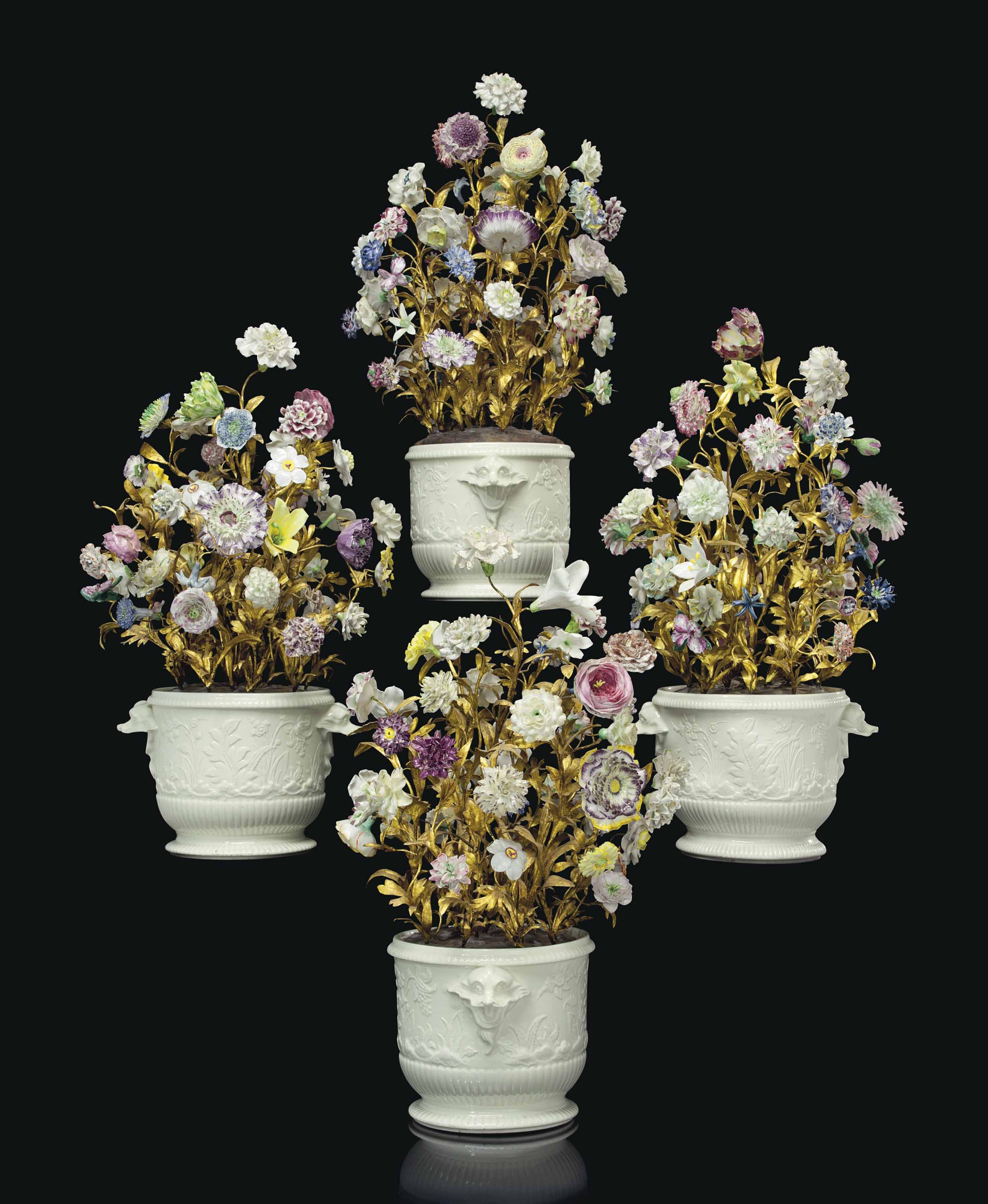 Four Saint Cloud Porcelain Bottle Coolers As Flower Pots The Coolers Circa 1740 The Flowers Mid 18th Century And Later Porcelain Flowers Flower Pots Porcelain