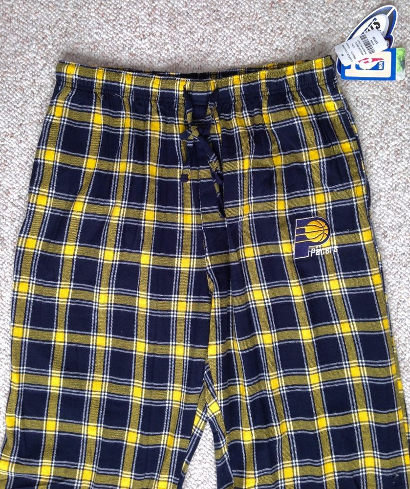 Best Indiana Pacers Pajama Pants Plaid Navy Blue Yellow Lounge 400 x 300