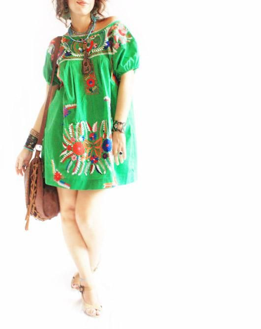a21df1afd1356 Esmeralda Green Mexican peasant embroidered tunic | Folkloric ...