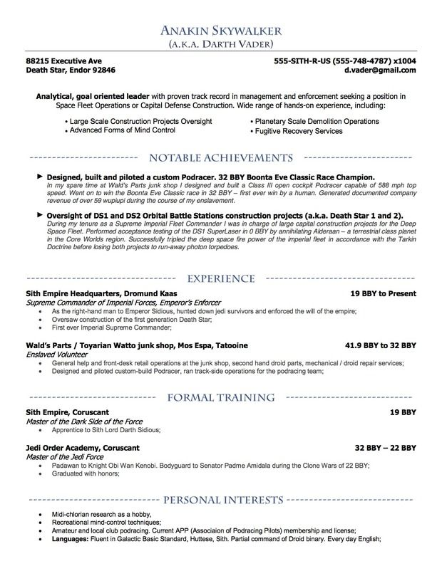 Anakin Skywalkeru0027s (aka Darth Vadar) Resume by Lora Dyakova of - mph resume