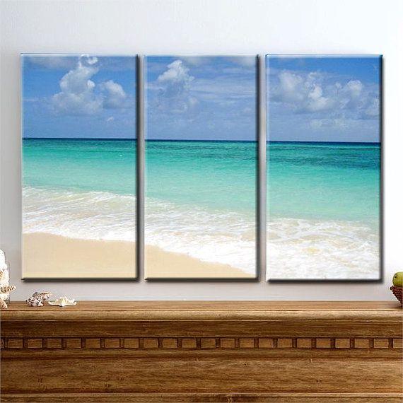Ocean Of Love Beach Sand Sky Waves Tropics Triptych 3 Panel
