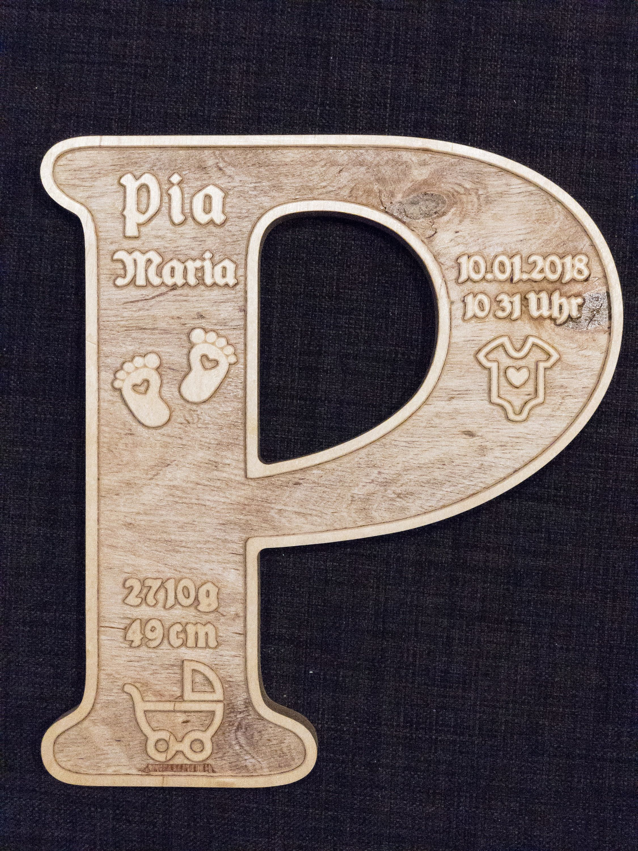 Buchstabe Mit Geburtsdaten Aus Holz Als Geschenk Zur Geburt