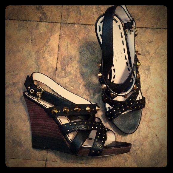 !SALE! Black studded wedge sandals size 8 Rachel Rachel Roy black studded wedge sandals size 8. Everything must go! Final price RACHEL Rachel Roy Shoes Sandals