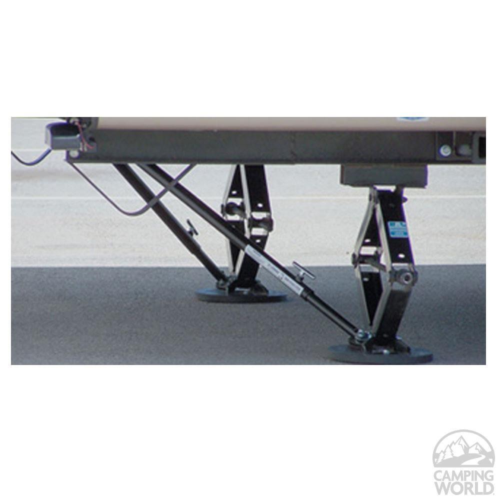 Jt strong arm jack stabilizer system 5th wheel kit under 58 between landing gear
