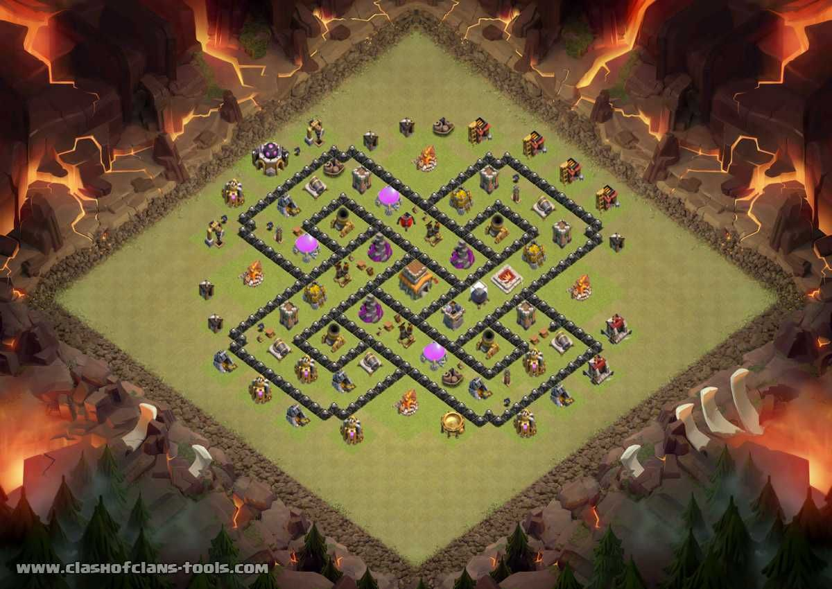 Townhall 8 War Base Clash Of Clans Layout Created By Elias Joulani Try It Out In The Attack Simulator See Previous At With Images Clash Of Clans Clash Of Clans Game Clan