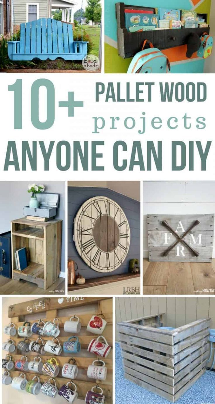 Ideas : 10+ pallet wood projects anyone can DIY | If you're looking for unique and easy pallet projects, look no further. You'll love these simple tutorials for awesome home decor projects made with pallets. Learn how to make pallet wood swing, wall mounted pallet bookshelf, pallet wood side table, clock made with pallets, pallet wooden sign with farmhouse style, coffee cup holder and air conditioning cover with pallets. #pallet #pallets #palletwood #DIY