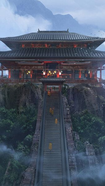 Japanese Temple Mountains Fantasy Art 4k Hd Mobile Smartphone And Pc Desktop Laptop Wallpaper 3840 Aesthetic Wallpapers Minecraft Wallpaper Japanese Temple
