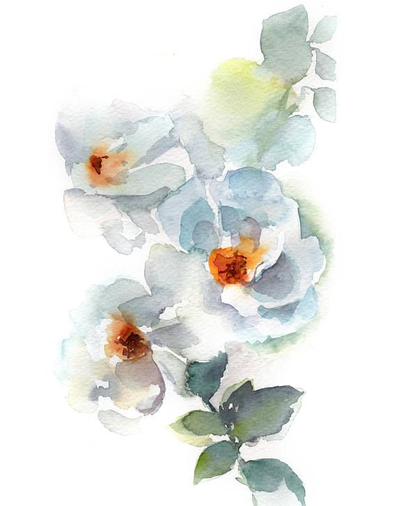 White Flowers Art Print Flowers Watercolor Painting Print Floral