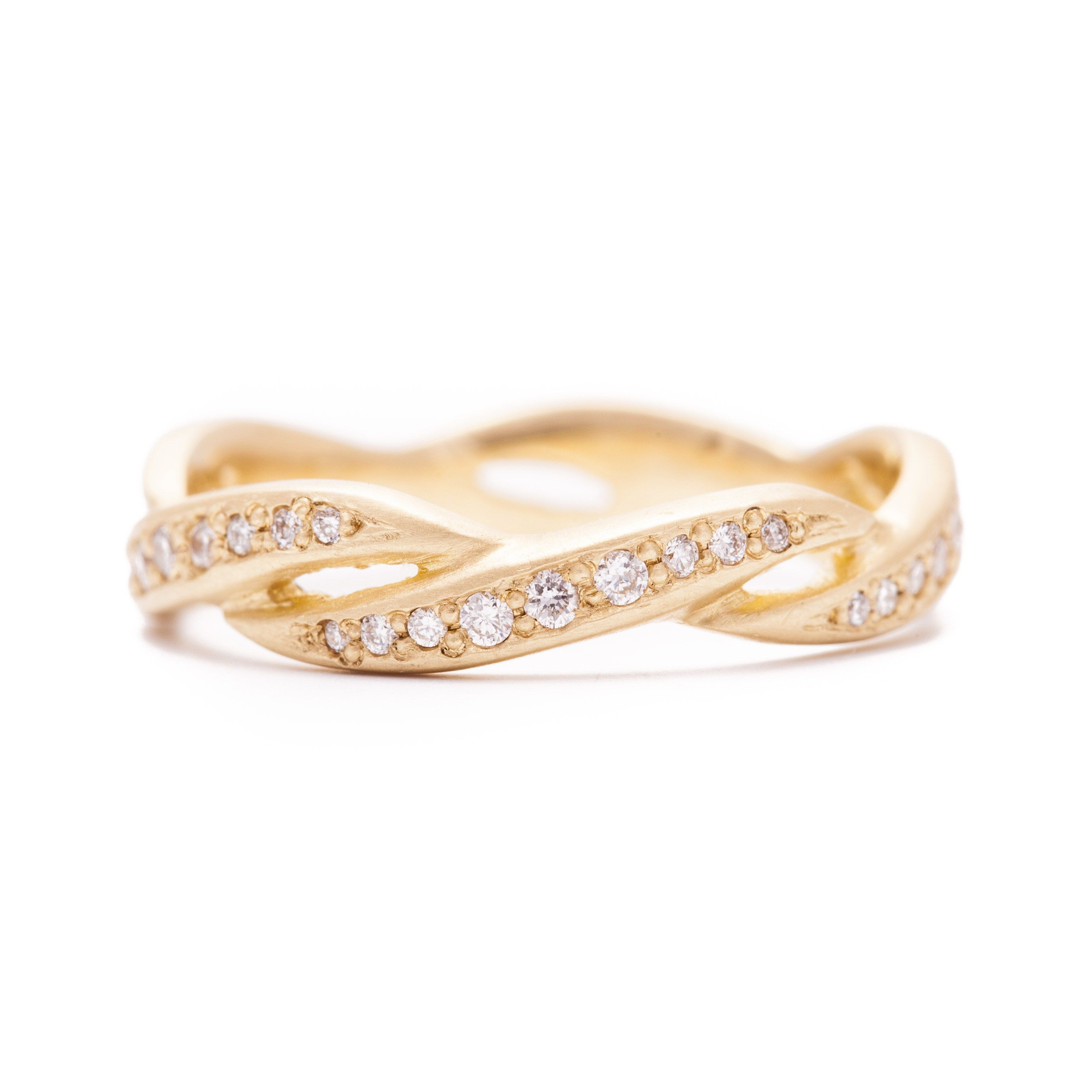 yellow womens wide avanti band diamond multi rings dress eternity bands gold ring image