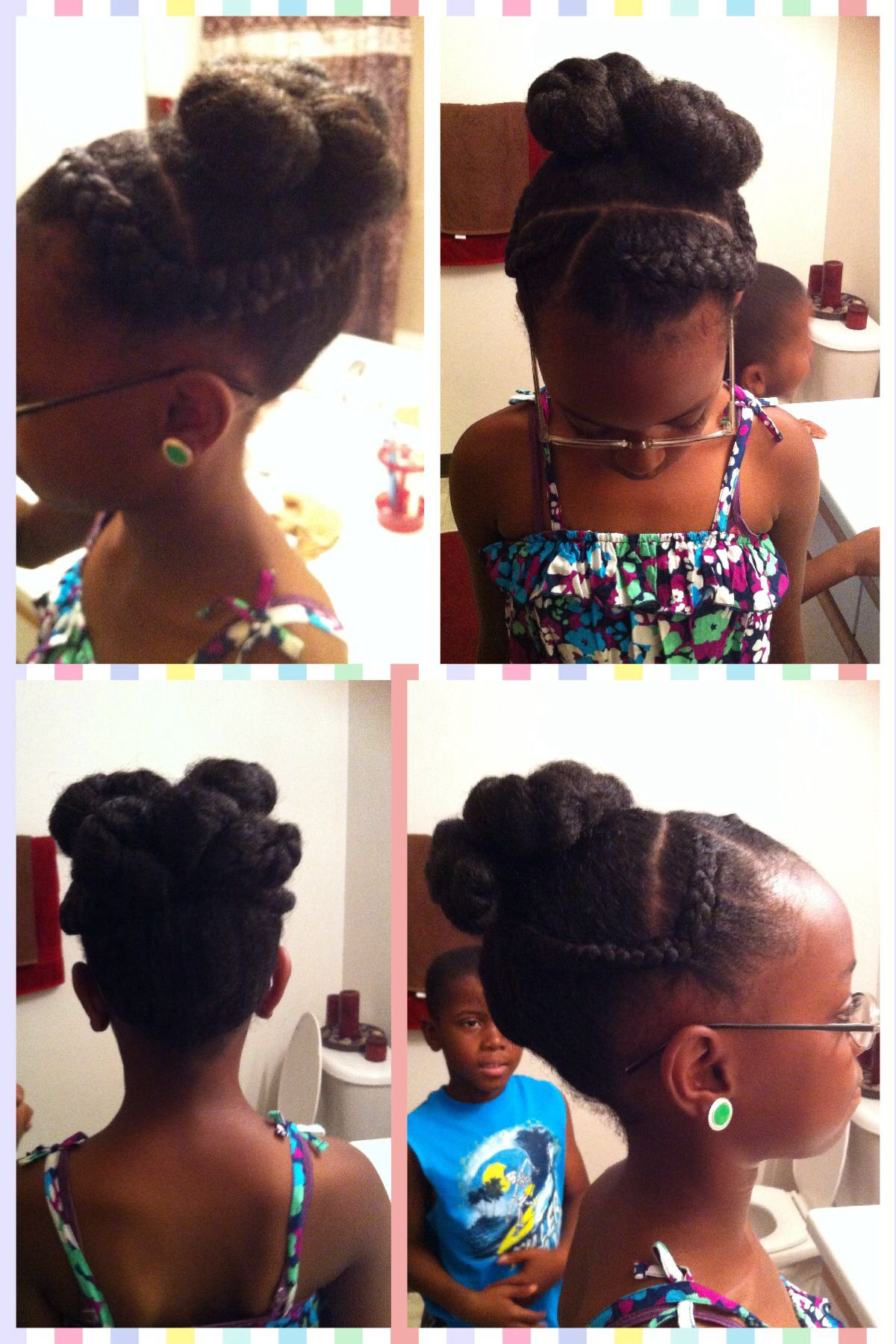 Kids natural hairstyles preteen kids twist and pinned bun with two