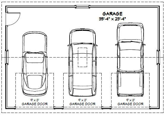 36x24 3 car garages 864 sq ft pdf floor plans 5 for What is the standard size of a two car garage