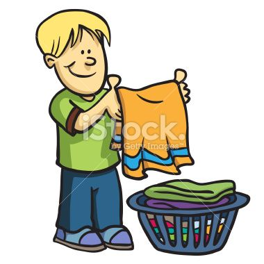 Image result for cartoon of boy doing laundry