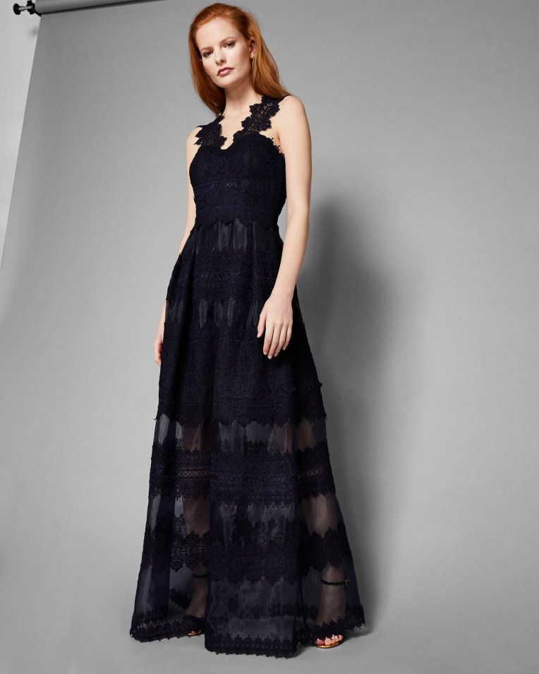 Layered Lace Maxi Dress Navy Sale Ted Baker Uk