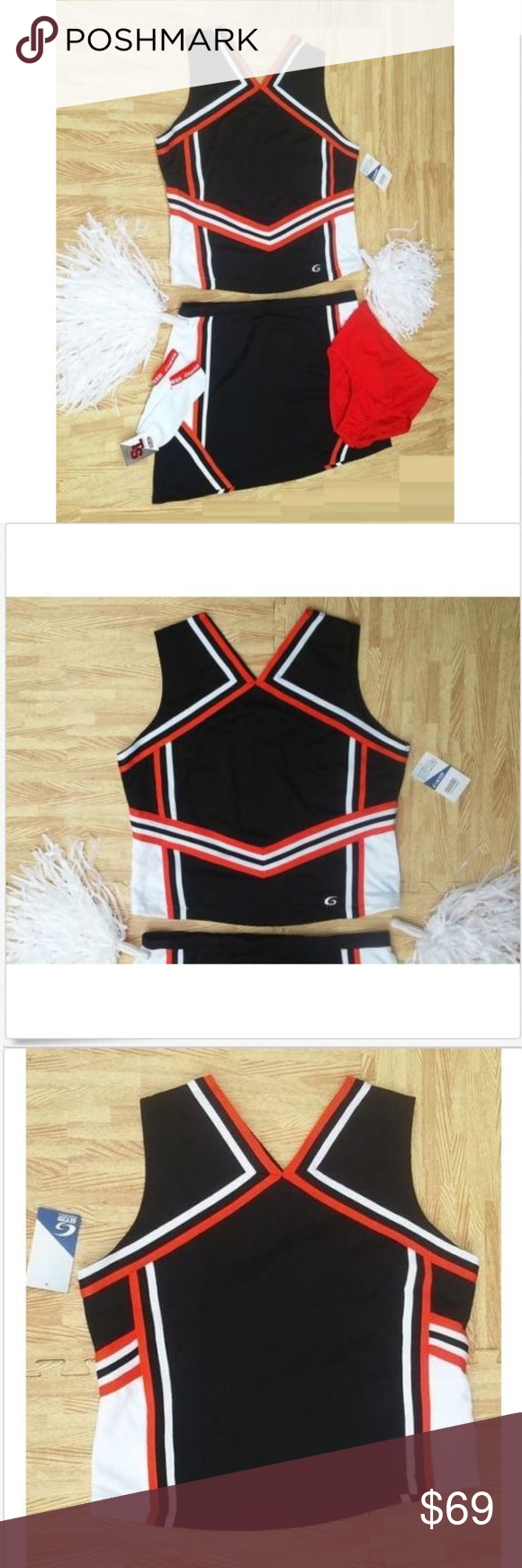 XXL CHEERLEADER UNIFORM CROP TOP SHELL SKIRT MORE BLACK ORANGE WHITE shell top pulls over the head, has a stretch back & contrasting braiding. V-cut neck & back. Tagged Women's 2XL. Chest measures 46