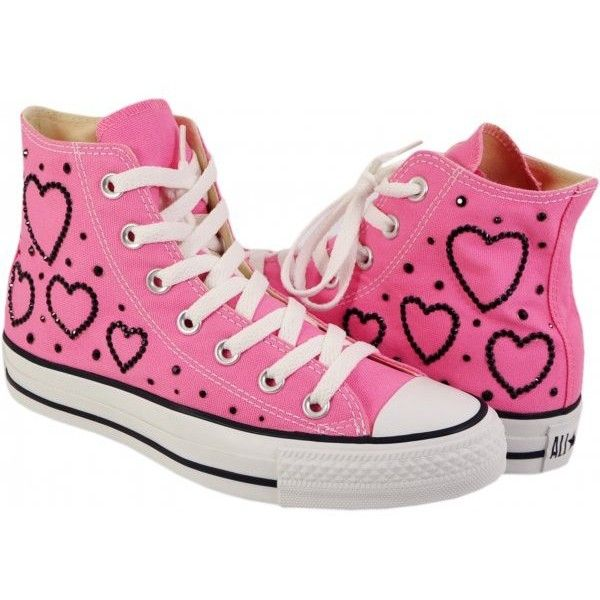 StarSparkles by Pauline Clifford Hi Converse Pink with Hearts ($170) found on Polyvore