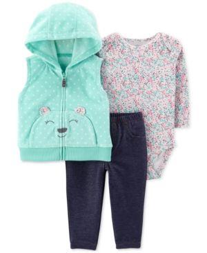 a4495a84c Baby Girls 3-Pc. Bear Fleece Vest