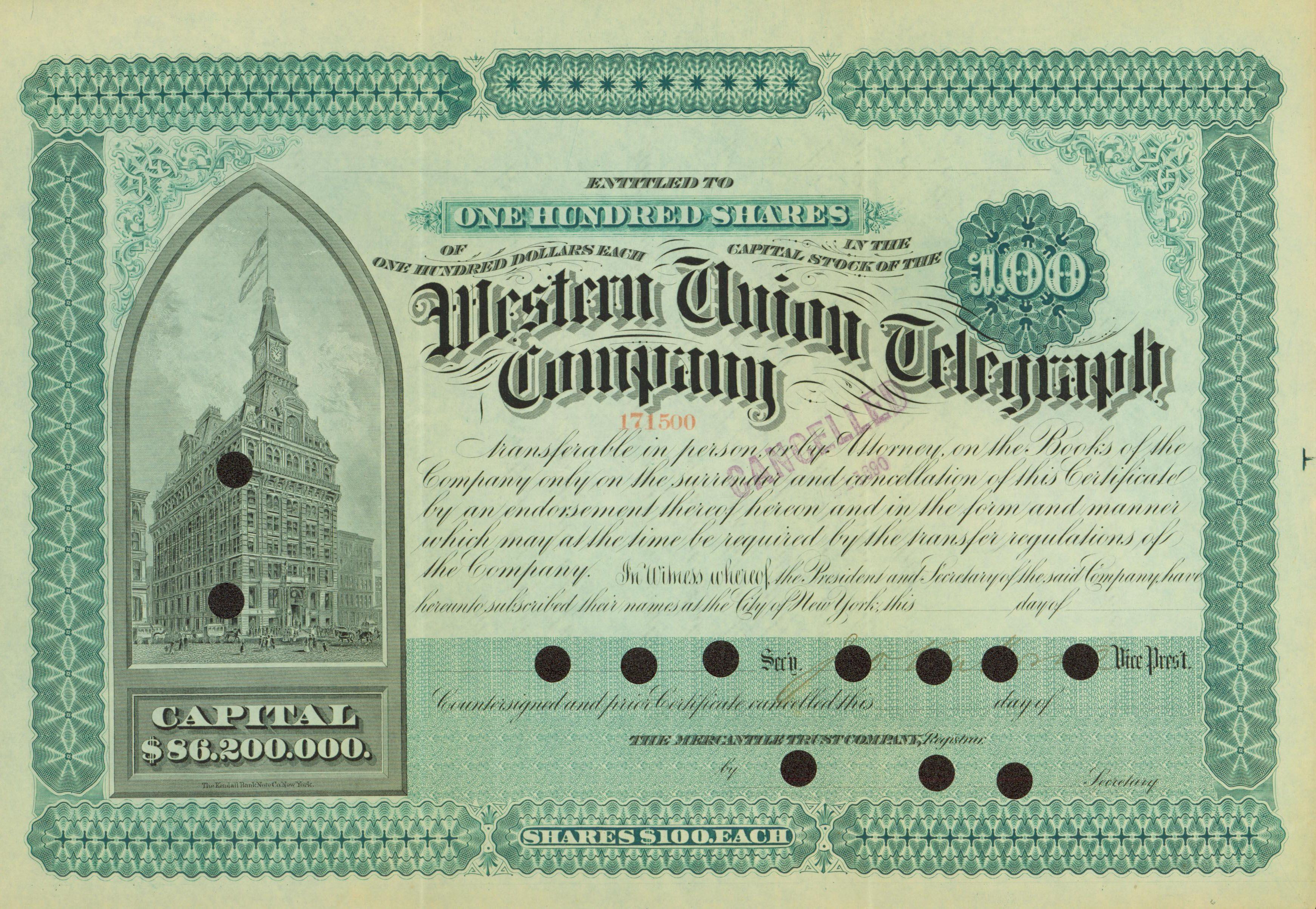 Western Union Telegraph Company Stock Certificate 1890 Stocks And Bonds Stock Certificates Dow Jones Index
