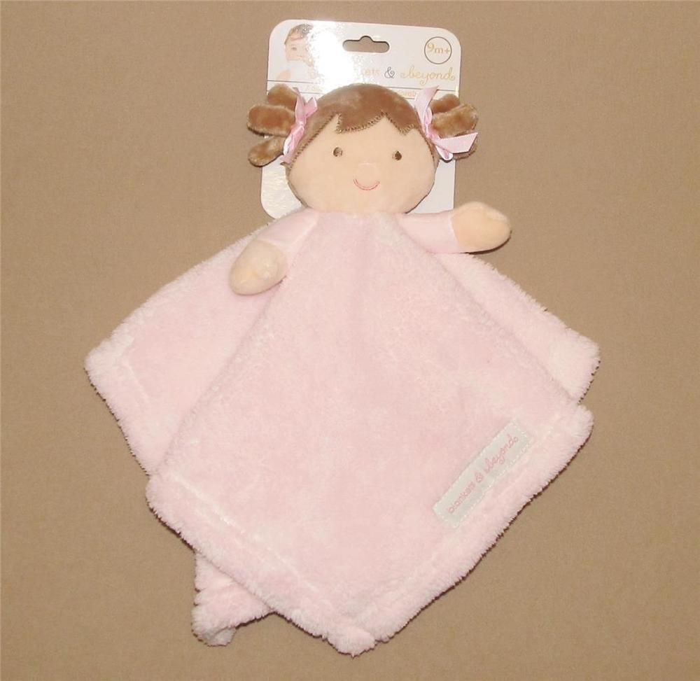Blankets And Beyond Blonde Hair Girl Doll Pink Gray Bows Plush Security Blanket