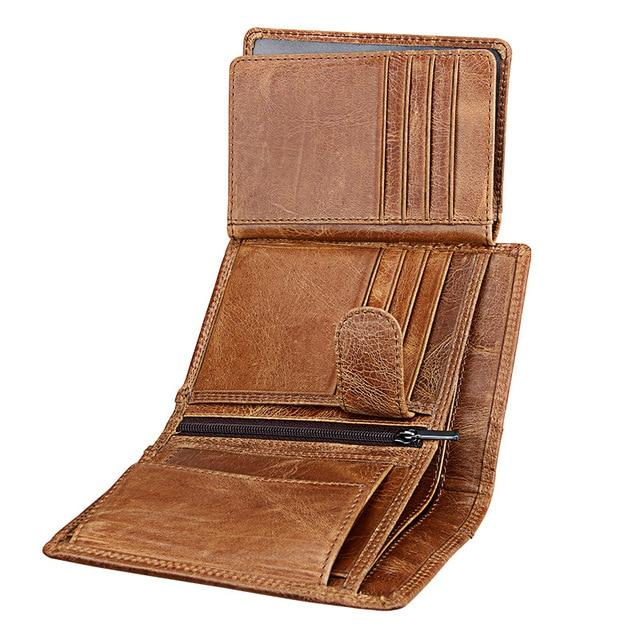 MENS GENUINE REAL SOFT LEATHER WALLET LARGE Coin Holder Billfold Purse Clutch