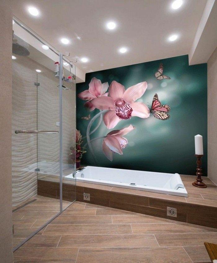Papier peint pour salle de bain - 45 idées magnifiques! - Archzinefr - salle de bains design photos