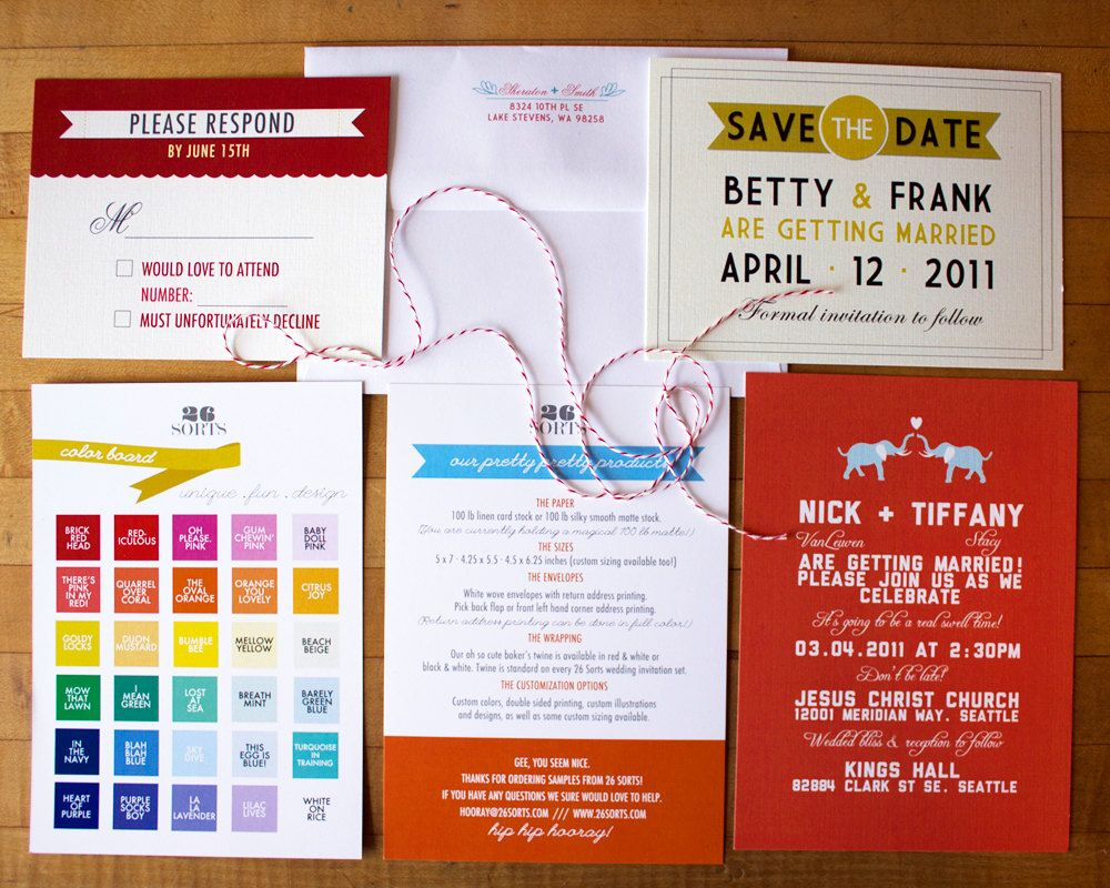 Wedding invitation sample pack with wedding invite, response card ...