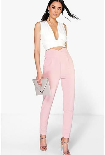 ef3dbadef0 Natalya High Waisted Tailored Woven Trousers Women's Cigarette Trousers,  Trousers Women, Pants For Women