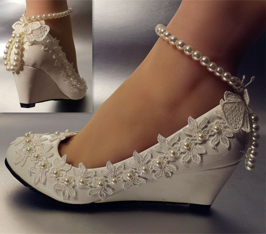Details About Lace White Ivory Crystal Wedding Shoes Bride Flats Low High Heel Wedge Size 5 12