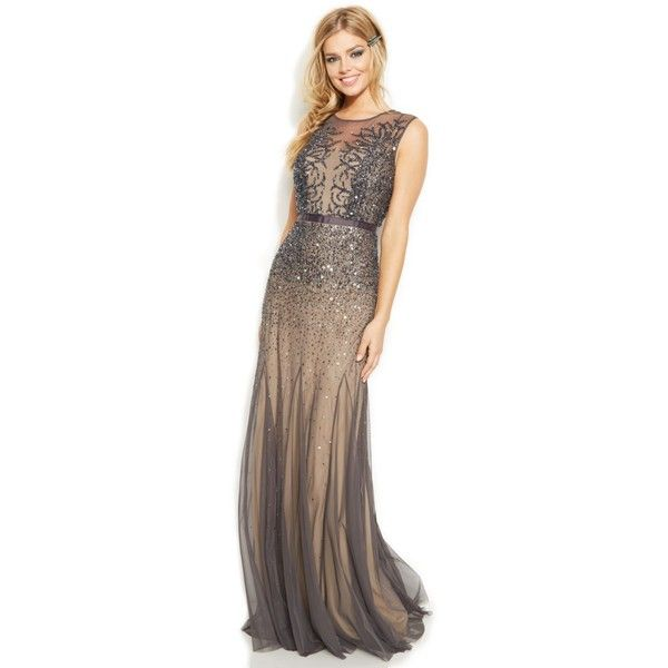 Adrianna Papell Sleeveless Beaded Illusion Gown ($299) ❤ liked on Polyvore featuring dresses, gowns, gunmetal, beaded dress, beaded evening gowns, beaded gown, adrianna papell gown and evening cocktail dresses